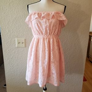 🌻Pink lace strapless dress
